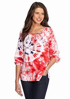 New Directions Weekend Tie Dye Peasant Shirt