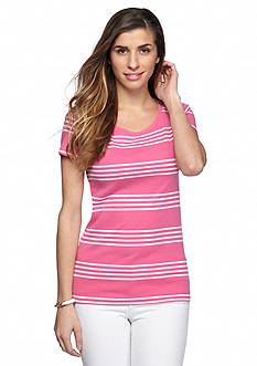 New Directions Weekend EDV Ribbed Surf Stripe Tee