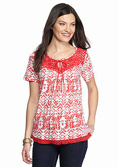 New Directions Weekend Lace Yoke Tassel Tie Tee