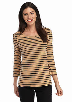 New Directions Weekend Stripe Rib Tee