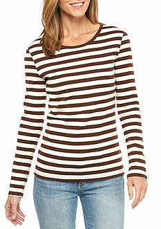 New Directions Weekend Ribbed Long Sleeve Stripe Tee