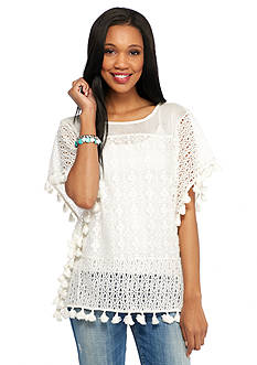 New Directions Weekend Crochet Pom Pom Fringe Hem Poncho