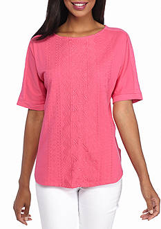 New Directions Weekend Embroidered Front Panel Tee