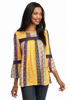 New Directions Paisley Printed Lace Trim Top
