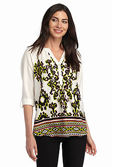 New Directions Weekend Studded Border Print Shirt
