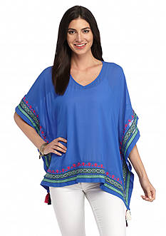 New Directions Weekend Embroidered Woven Poncho