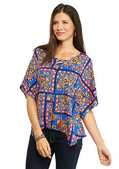 New Directions Weekend Floral Paisley Lace-Up Shark-bite Poncho