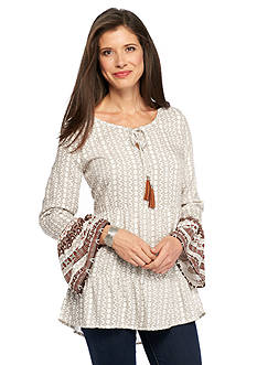 New Directions Weekend Printed Bell Sleeve High Low Peasant Shirt