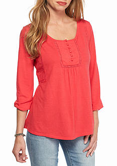 New Directions Weekend Embroidered Placket Peasant Top
