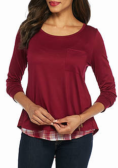 New Directions Weekend Plaid High Low Twofer Top