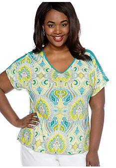 New Directions Weekend Plus Size Printed Lace Back Tee