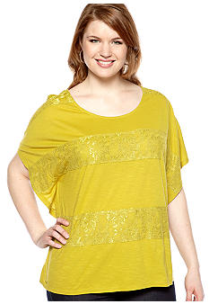New Directions® Weekend Plus Size Lace Trim Poncho Top