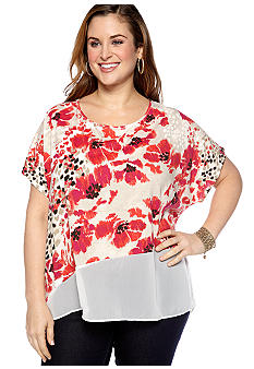 New Directions Weekend Plus Size Asymmetrical Printed Top