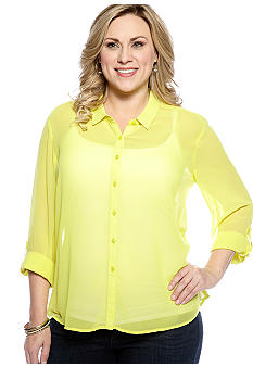 New Directions Weekend Plus Size Hi-Lo Shirt