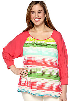 New Directions Weekend Plus Size Woven Stripe Knit Top