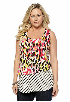 New Directions Weekend Plus Size Layered Mix Print Tank
