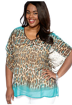 New Directions Weekend Plus Size Woven Poncho Top