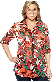 New Directions Weekend Plus Size Sheer Shirt
