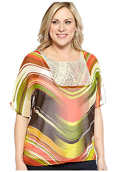New Directions Weekend Plus Size Dolman Top with Woven Crochet Bib