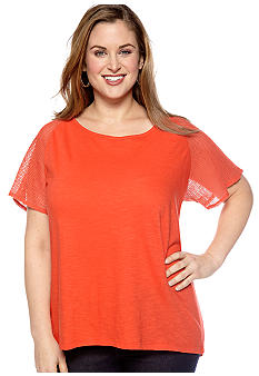 New Directions Weekend Plus Size Crochet Sleeve Tee