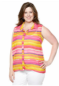 New Directions Weekend Plus Size Crochet Back Tank