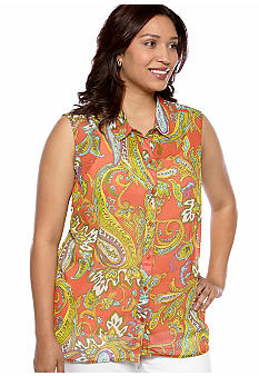 New Directions Weekend Plus Size Sleeveless Button Front Shirt