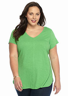 New Directions Weekend Plus Size Double V Core Tee