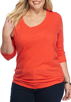 New Directions Weekend Plus Size Slub-Core Solid Knit Top