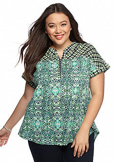 New Directions Weekend Plus Size Printed Top