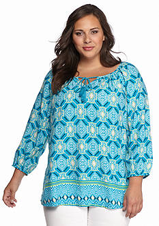 New Directions Weekend Plus Size Printed Peasant Top