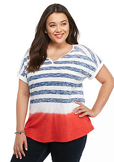New Directions Weekend Plus Size American Flag Tee