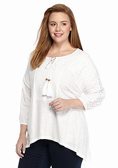 New Directions Weekend Plus Size Crochet Peasant Top