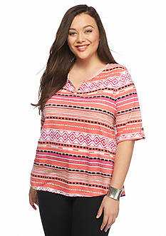 New Directions Weekend Plus Size Stripe Print Tee