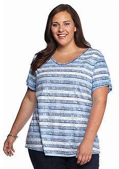 New Directions Weekend Plus Size Slub Stripe Tee