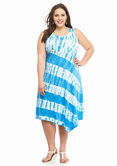 New Directions Weekend Plus Size Studded Tie-Dye Dress