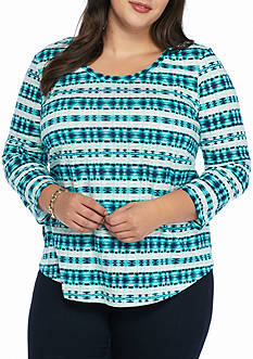 New Directions Weekend Plus Size Printed Slub Core Top