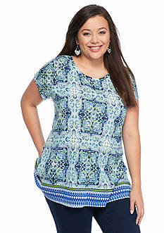 New Directions Weekend Plus Size Printed Tee