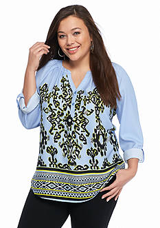 New Directions Weekend Plus Size Embellished Printed Top