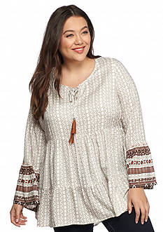 New Directions Weekend Plus Size Bell Sleeve Peasant Top