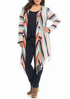 New Directions Plus Size Stripe Fringe Hooded Cardigan