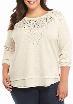 New Directions Weekend Plus Size Sequin Chiffon Sweatshirt