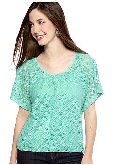 New Directions Weekend Petite Lace Drawstring Layered Top
