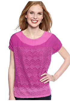 New Directions Weekend Petite Lace Panel Tie Dye Tee