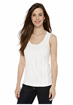 New Directions Weekend Petite Crochet Front Tank