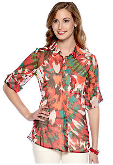 New Directions Weekend Petite Hi Lo Blouse