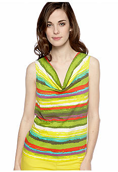 New Directions Weekend Petite Cowl Neck Tank