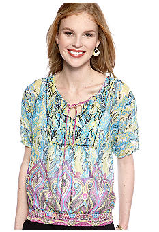 New Directions Weekend Petite Beaded Smock Bottom Woven Top