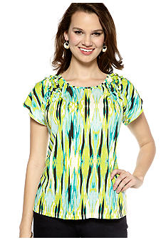 New Directions Weekend Petite Flutter Sleeve Top