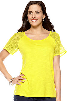 New Directions Weekend Petite Crochet Sleeve Tee