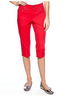 New Directions Weekend Petite Capri with Stud Embellishment